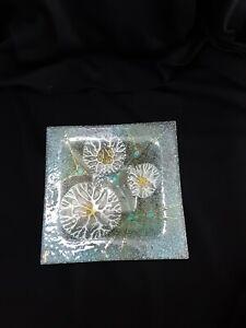 Signed-Higgins-Fused-Art-Glass-Thistledown-Pattern-Square-Dish-1970-039-s