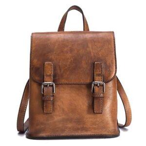 New Women/'s Retro Genuine Real Cow Leather Backpack Travel Bag Handbag Coffee