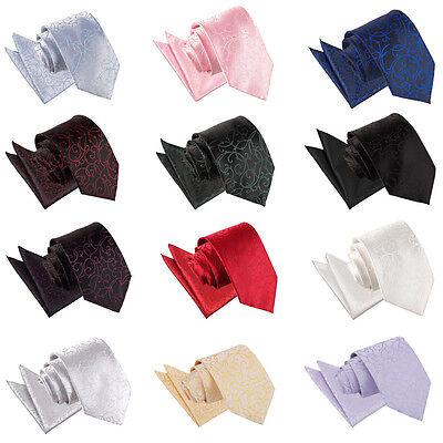 DQT Woven Swirl Formal Wedding Suit Mens Classic Tie & Pocket Square Hanky Set