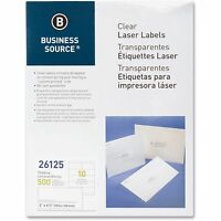 Business Source Shipping Labels, Laser, Permanent, 2x4-1/4, 500/pk, Clear on sale