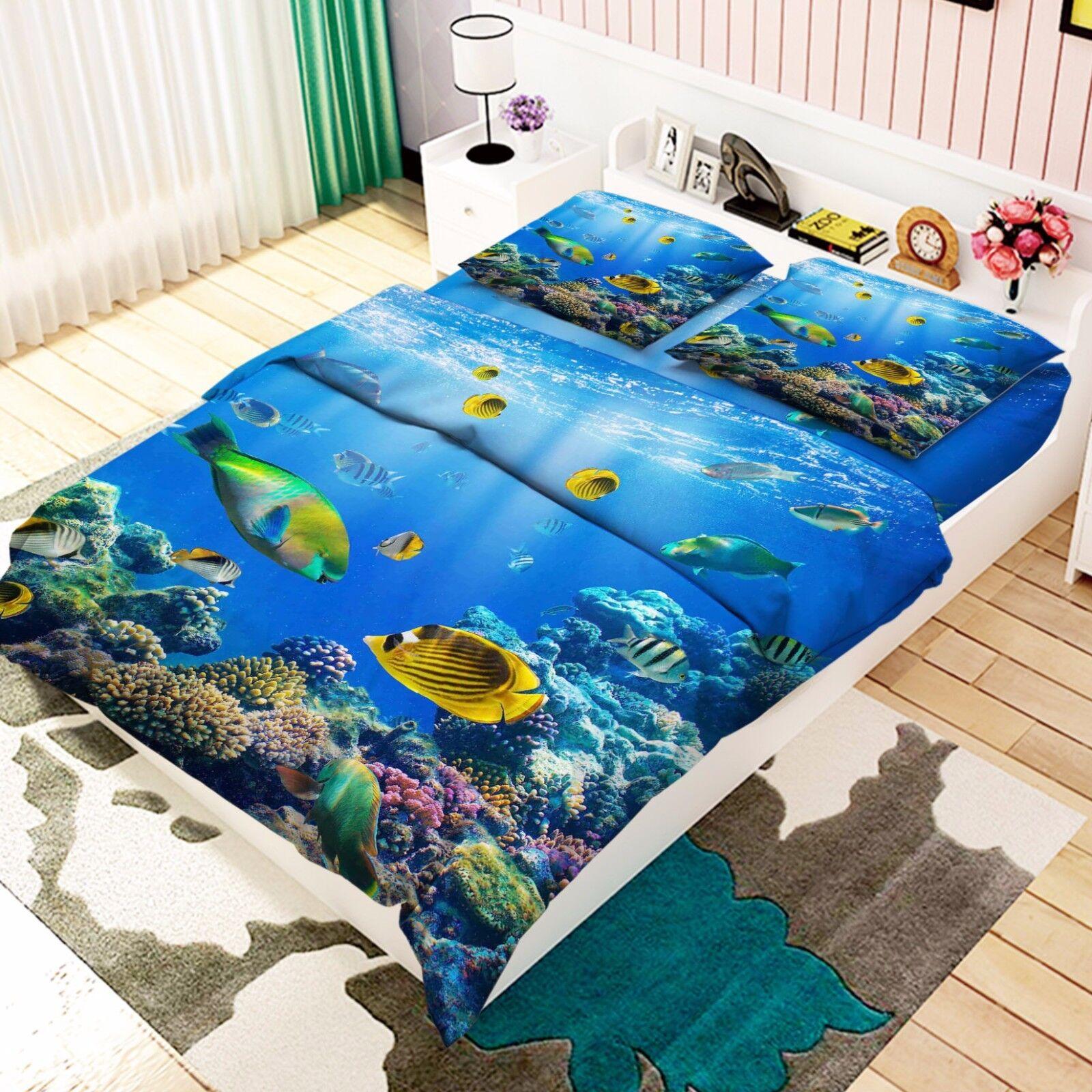 3D Ocean Fish 856 Bed Pillowcases Quilt Duvet Cover Set Single Queen UK Kyra