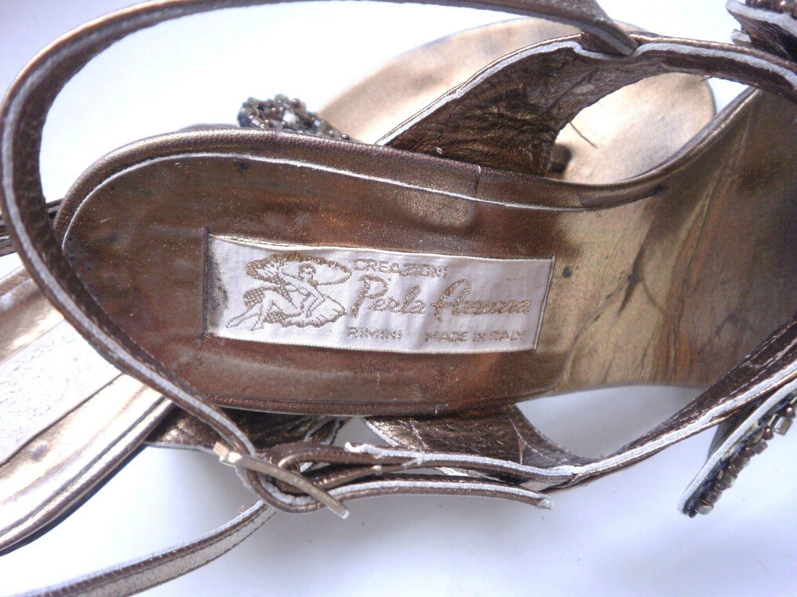 Perla fleurs Damen Sandaletten Pumps Rimini TRUE VINTBGE metalic gold Pailletten