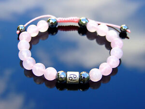 Cancer-Rose-Quartz-Hematite-Birthstone-Bracelet-6-9-039-039-Macrame-Healing-Stone