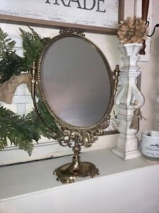 "Vintage Antique Brass Ornate Tilting Vanity Dresser Mirror 13""x21"" Made In Italy"