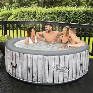 NEW-CleverSpa-Waikiki-6-Person-Round-Inflatable-Hot-Tub-Spa-Wood-Effect