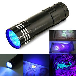 9-LED-Mini-Aluminum-UV-Ultra-Violet-Flashlight-Blacklight-Torch-Light-Lamp-Black