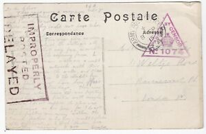1915-FRANCE-PPC-TO-LONDON-039-IMPROPERLY-POSTED-DELAYED-039-CACHET-APO-R4-CDS-amp-CENSOR