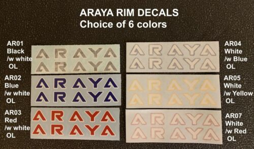 ARAYA WHEEL DECALS-CHOICE OF 6 COLOR listing is for 1 PAIR