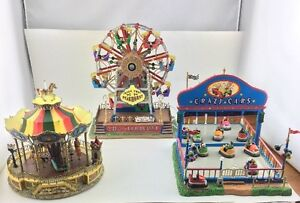 Lemax Carnival Lot Of 3 Belmont Carousel The Starburst Crazy