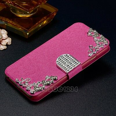Leather Diamonds Wallet Flip Magnetic Stand Case Cover For iPhone & Samsung