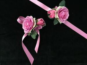 Brautjungfern Blumen Armband Satin Bandchen Rosa Nedime Bilekligi