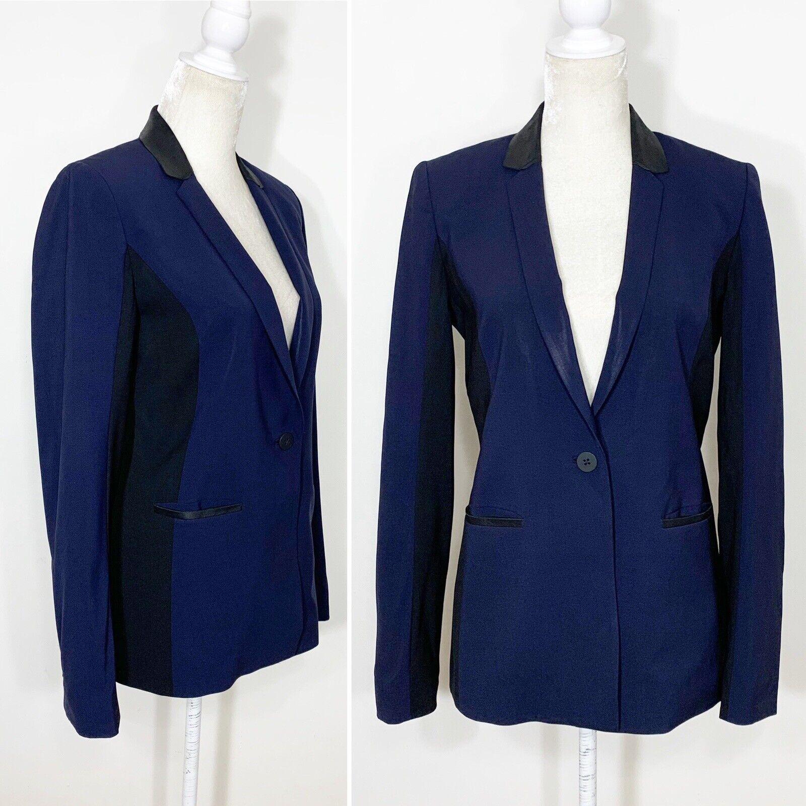 Elie Tahari en Colors  vivos Tapicería de Cuero Negro Azul Marino Chaqueta Blazer De Lana Ajustada 6  barato y de moda