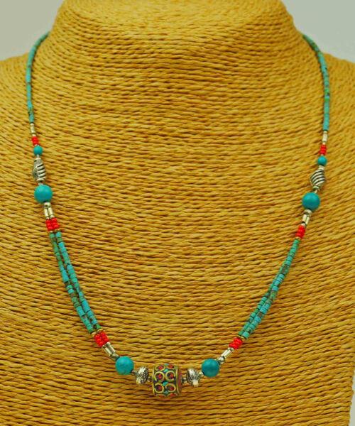 MüHsam Türkis Halskette Halsschmuck Nepal Kette Schmuckstück Modeschmuck Indien A62/1 GläNzend