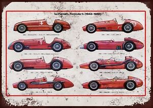"FERRARI thru Ages Aged 10x8"" Retro Vintage Metal Advertising Sign Wall Art Pic"