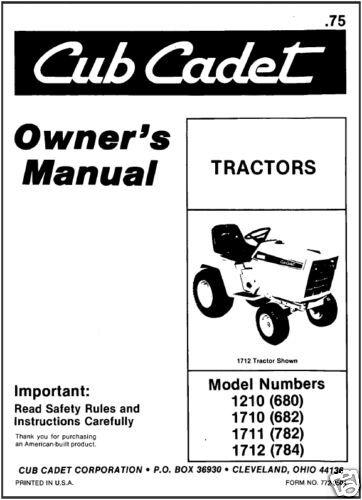 research.unir.net Cub Cadet Owners Manual Model No 1210,1710,1711 ...