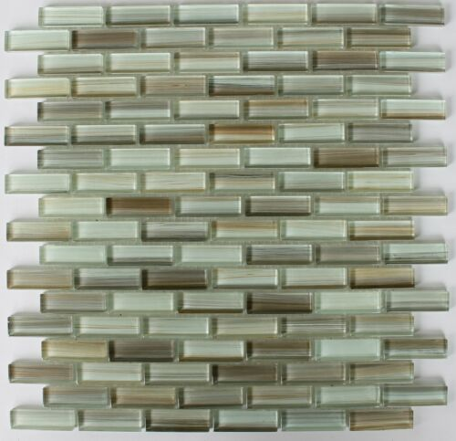 Utaupia Mostly Taupe and Brown Hand Painted Glass Mosaic Subway Tiles-Backsplash