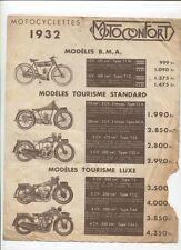 N°9681 / prospectus MOTOCONFORT gamme 1932 tout modéle