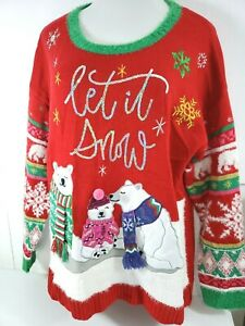 Women-039-s-Ugly-Christmas-Sweater-Party-Polar-Bears-Let-It-Snow-Fuzz-Sz-1X-Red-NWOT