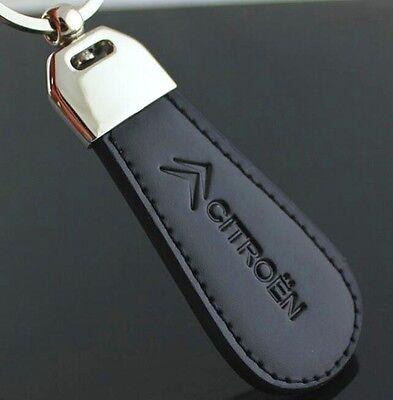 LG104 Black PU Leather Drop Keyring For Citroen Car Logo Key Ring Keychain Gift