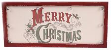 Traditional Vintage Wooden Light Up LED Merry Christmas Hanging Plaque Sign