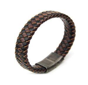 Brown-Black-Mixed-Woven-Leather-Men-Bracelet-Stainless-Steel-Gun-Metal-Clasp