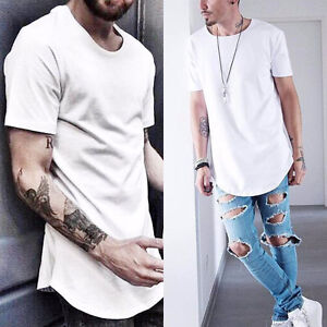 Men-039-s-Basic-Extended-Long-T-Shirt-Elongated-Tee-Fashion-Casual-Loose-Crew-Neck