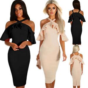 new style 4481a 47297 Dettagli su Vestito elegante nero donna sexy abito da sera aderente  cerimonia party DS610206