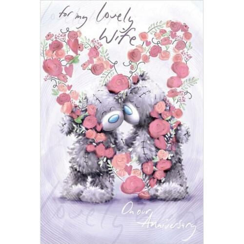 ME TO YOU FOR MY LOVELY WIFE ON OUR ANNIVERSARY CARD TATTY TEDDY BEAR NEW GIFT