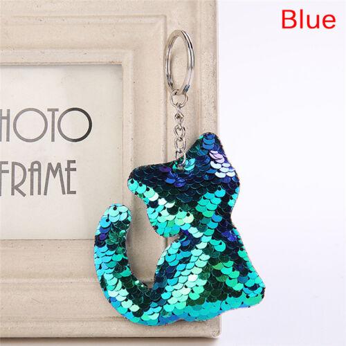 Cat Shaped  Sequins Key Chain Handbag Pendant Keyring Jewelry Gifts Cute JC