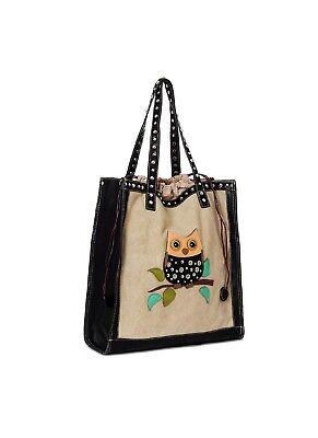 Handtasche mit Eulenmotiv Schwarz/Beige, Herausnehmbare Innentasche