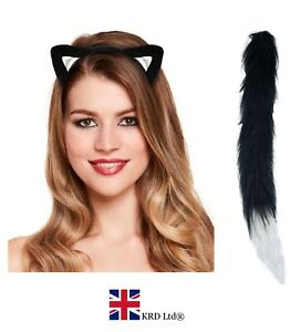 Cat Ears and Tail Set Instant Fancy Dress Animal Halloween Costume Book  Week UK 0484411da6bc