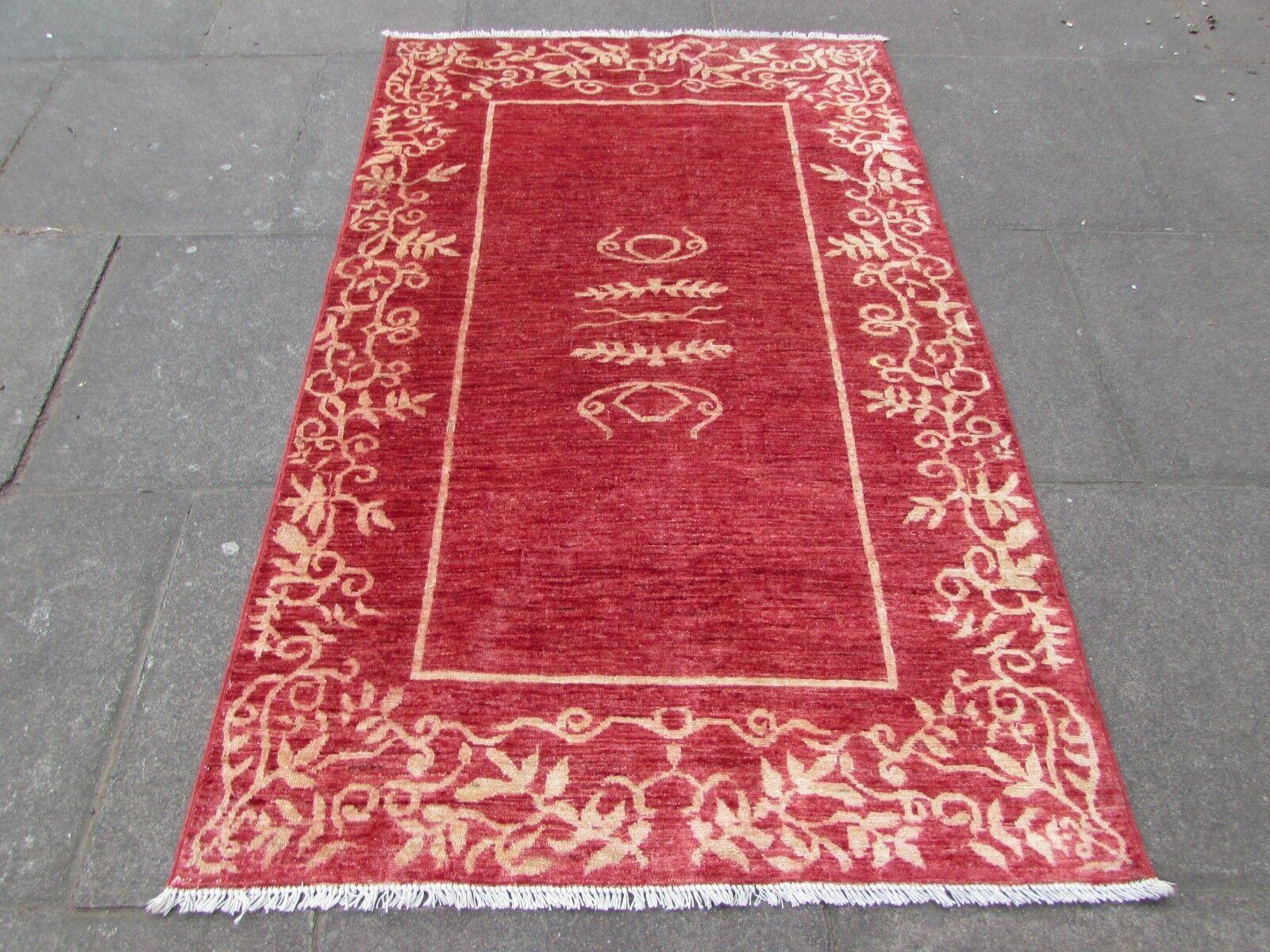 Afgano tradizionale fatto a mano moderno Gabbeh Tappeto Di Lana Rosso oro 183x119cm