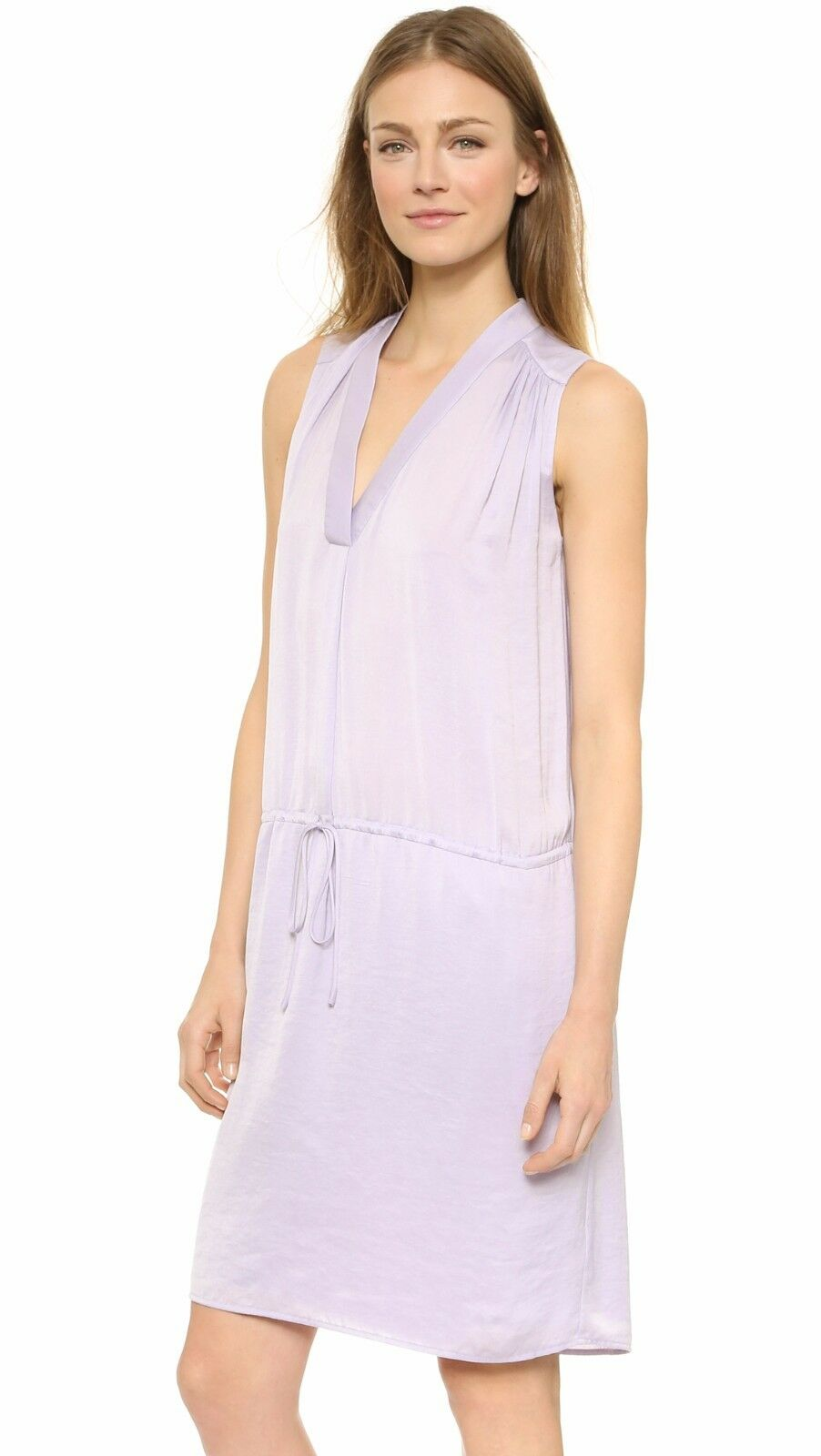 NWT Vince Shirrot Shoulder in Lavender lila Washed Satin Shift Dress L