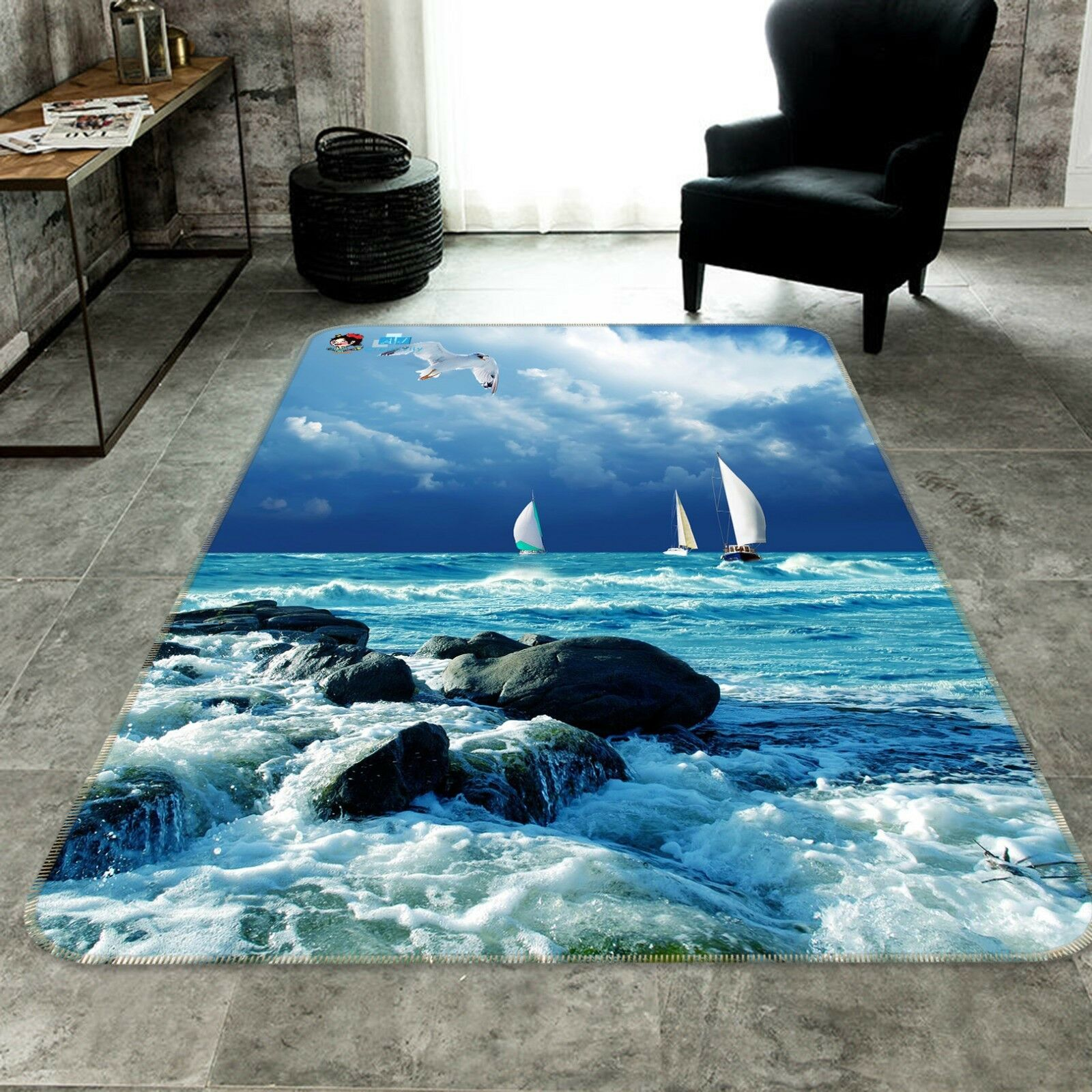 3D Sea Boats Birds 291 Non Slip Rug Mat Room Mat Quality Elegant Photo Carpet AU