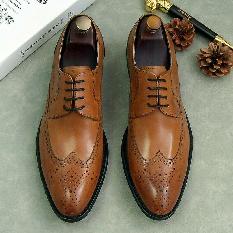 Mens Wing Tip Lace Up Wedding Brogue Leather Oxfords Dress Formal shoes Fashion