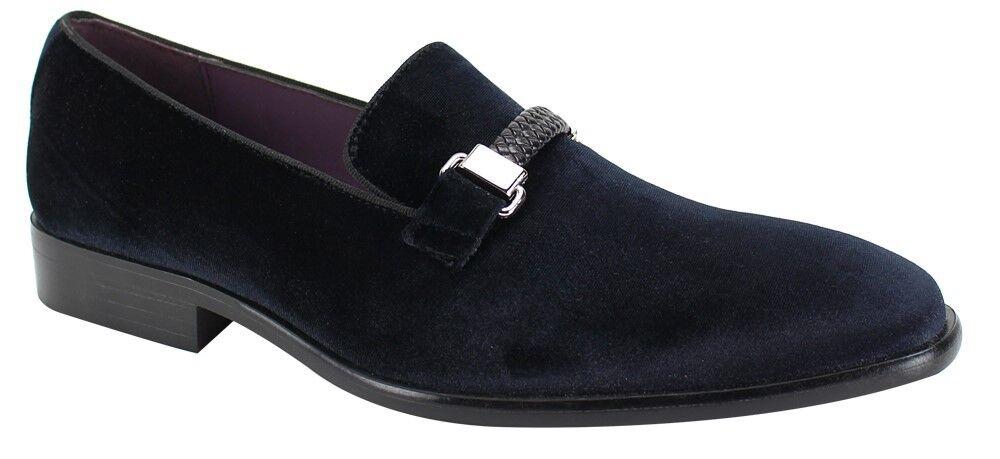 Men's Fancy Dress Casual shoes Slip On Loafers Black Smokers Velvet Feel 6753