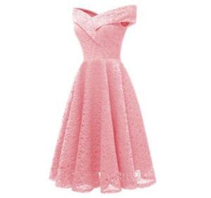 Women-Lace-Wedding-A-line-Pink-Formal-Dress-Off-Shoulder-Short-Bridesmaid-Dress