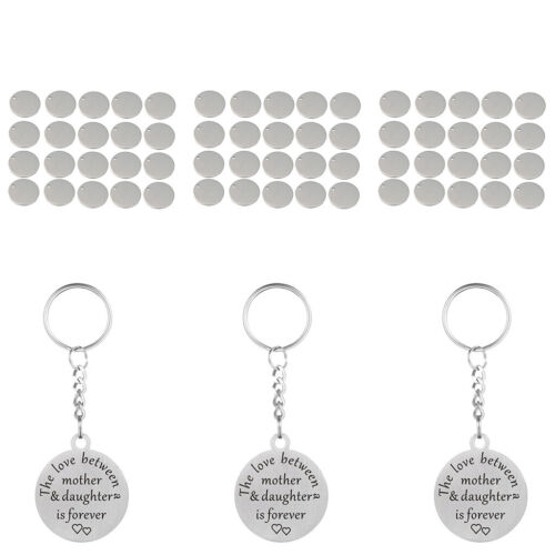 60x Metal Flat Round Tags Blank Coin Charm Tag Pendant Engrave Disc Coins