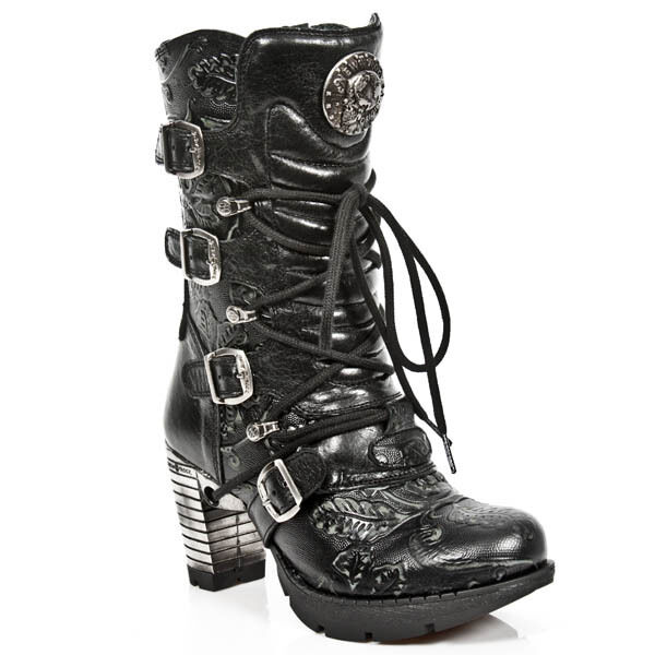 Grandes zapatos con descuento NEWROCK M.TR003 S8 Black EXCLUSIVE LATEST New Rock Punk Gothic Boots - Womens
