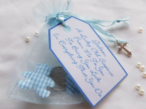 LUCKY SIXPENCE **GODSON CHRISTENING DAY GIFT** with Teddy /& Heart**