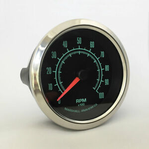 C2-60s-Muscle-3-3-8-034-In-Dash-Tachometer-Stainless-Bezel-2951SS