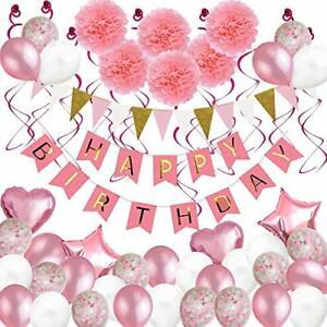 Anniversaire-Decorations-79-pcs-Ballons-Fete-Decoration-pour-Fille-Femme-avec-Rose