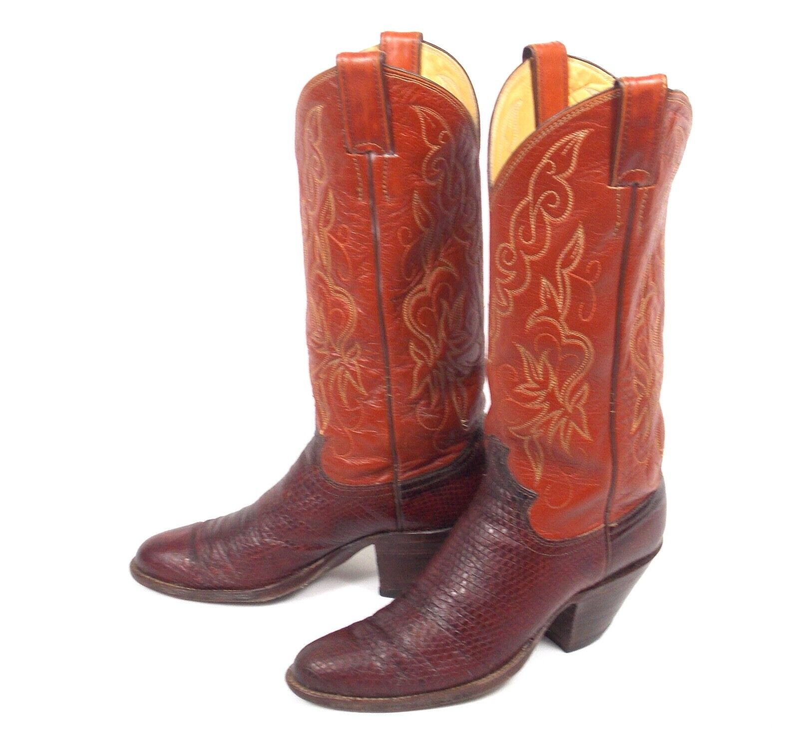 Justin Brown Snakeskin Cowboy Boots - Womens Size 6.5B Vtg Good Cond Tall Heel