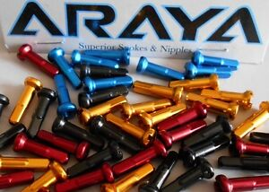 Araya-Alloy-Nipples-Long-Gold-or-Red-Packs-of-36-Brand-New-Standard-2mm