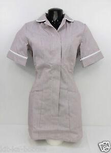 Alexandra-Ladies-Nurses-NHS-Healthcare-Zip-Up-Brown-Stripe-Uniform-Tunic-E8-SN8