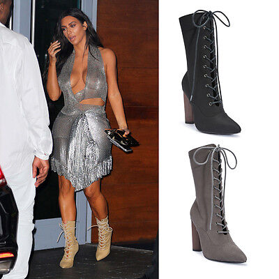 Ladies Womens Wooden Round High Heel Lace Up Ankle Calf Boots Celeb Size