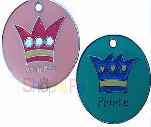 Dog-ID-Tag-LARGE-32mm-PRINCE-PRINCESS-DESIGN-PET-ID-TAGS-with-ENGRAVING-Options