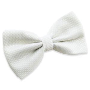 Noeud papillon blanc en soie mélangée pour homme Men white Bowtie