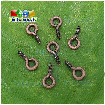 200 pcs Copper Tone Screw Eye Pins Peg Tail Bail Top Drilled Findings 4x8mm P311