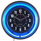 "Blue Neon Analog Wall Clock 11"""